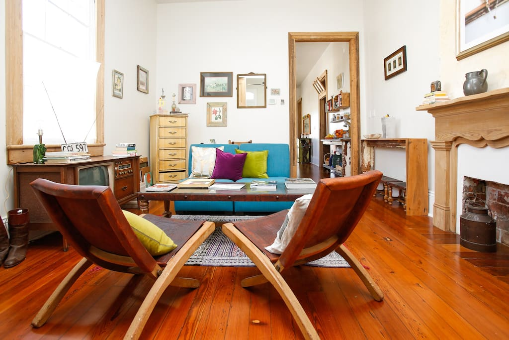 Eclectic furnishings in the living room.