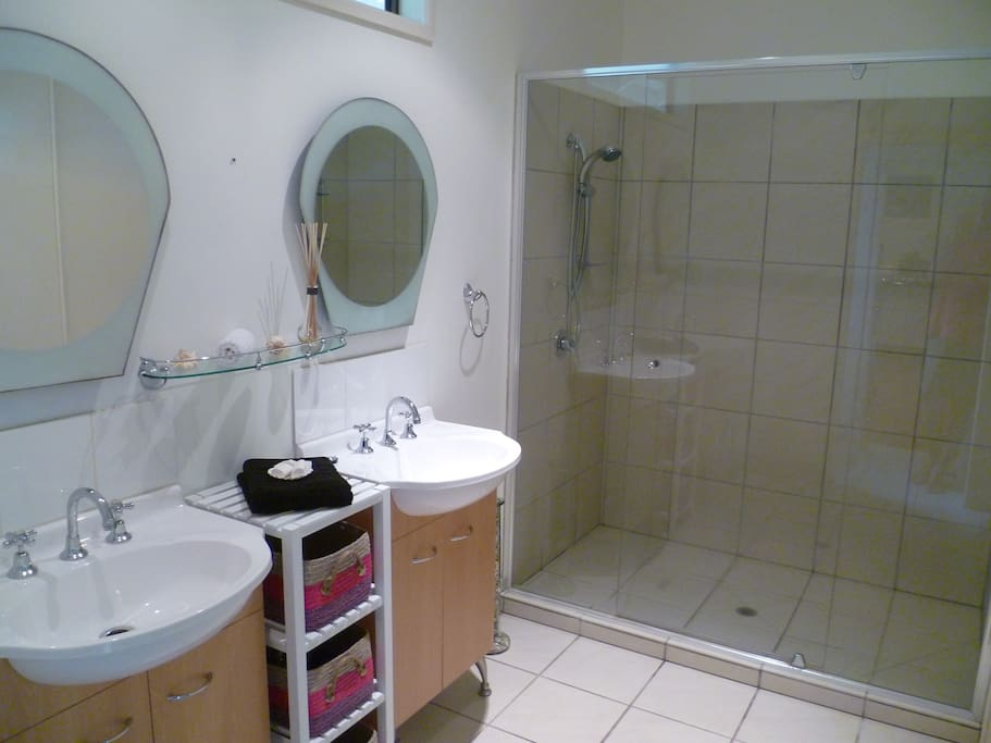 Large Bathroom,twin vanities,hairdryer .