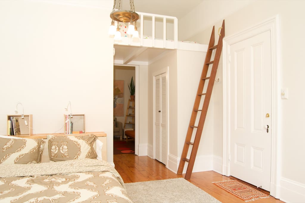 Double futon in loft--fun sleeping space for older kids (accessible by ladder)