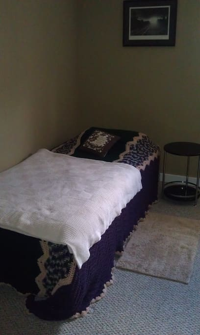 Queen bed..bathroom off to right.
