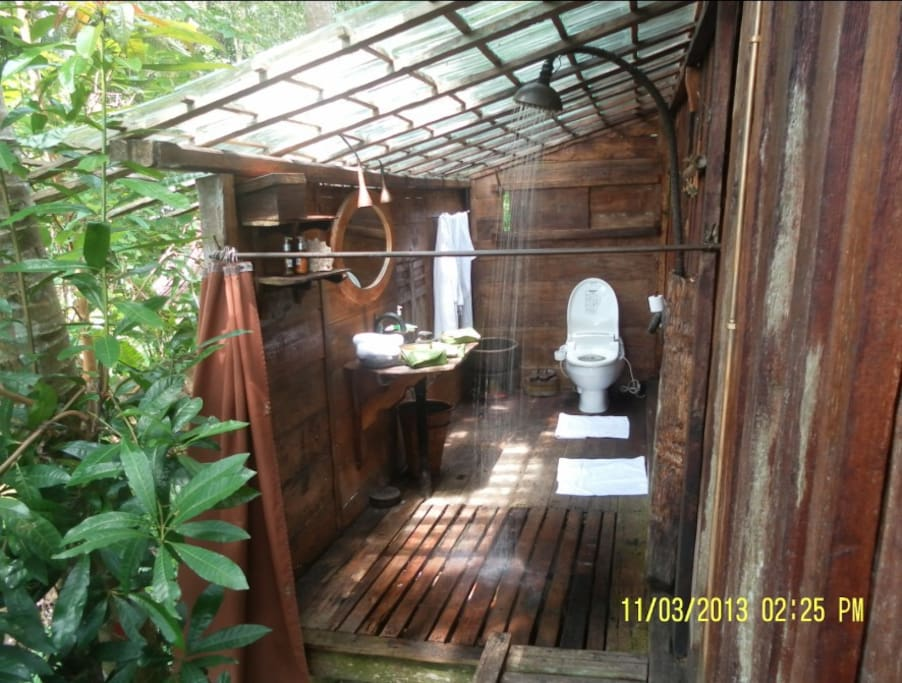 The natural bathroom from the opposite end, rain shower running, and Japanese commode. The privacy curtains have been opened for this image