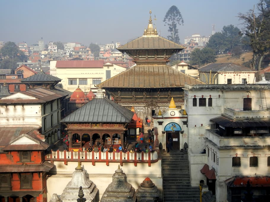 Pashupatinath temple, also known as Shiva Temple - A world heritage site only 5 minutes walk from the house