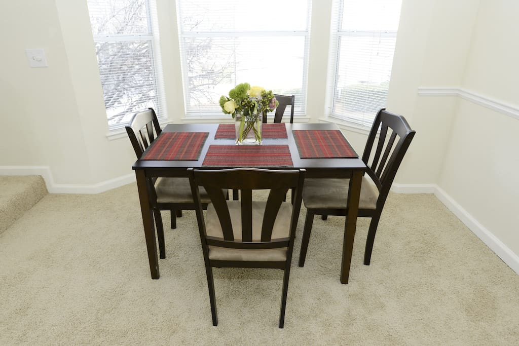 New, larger dining room set that seats 6 plus 2 counter bar stools is now in the home. Will post pictures soon.