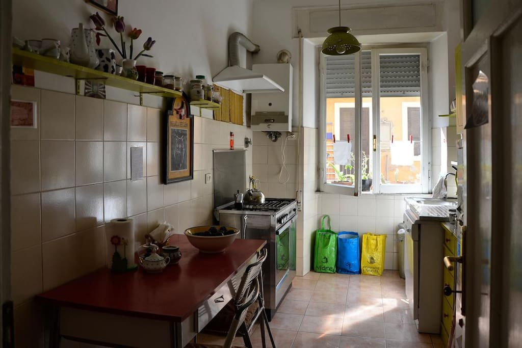 The kitchen, with dishwasher, washing machine and microwave oven, too.