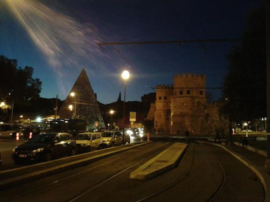 The Pyramid and Porta San Paolo. The view you'll see in your way to my place, located at a 3 min walk away.