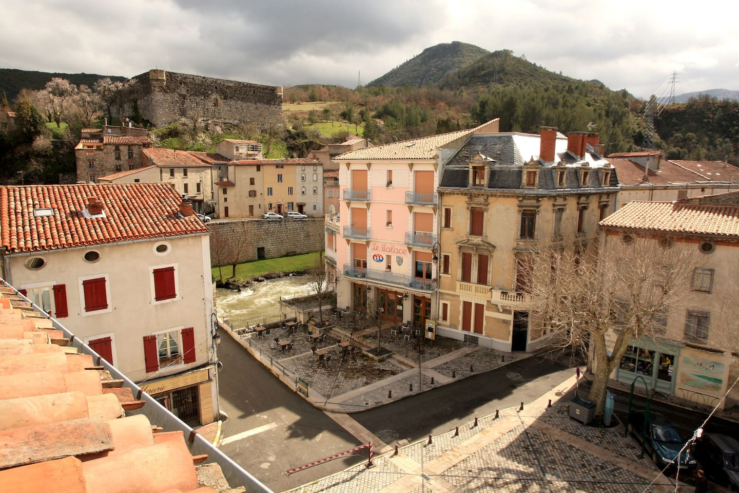 view from the roof terrace showing chateau and river