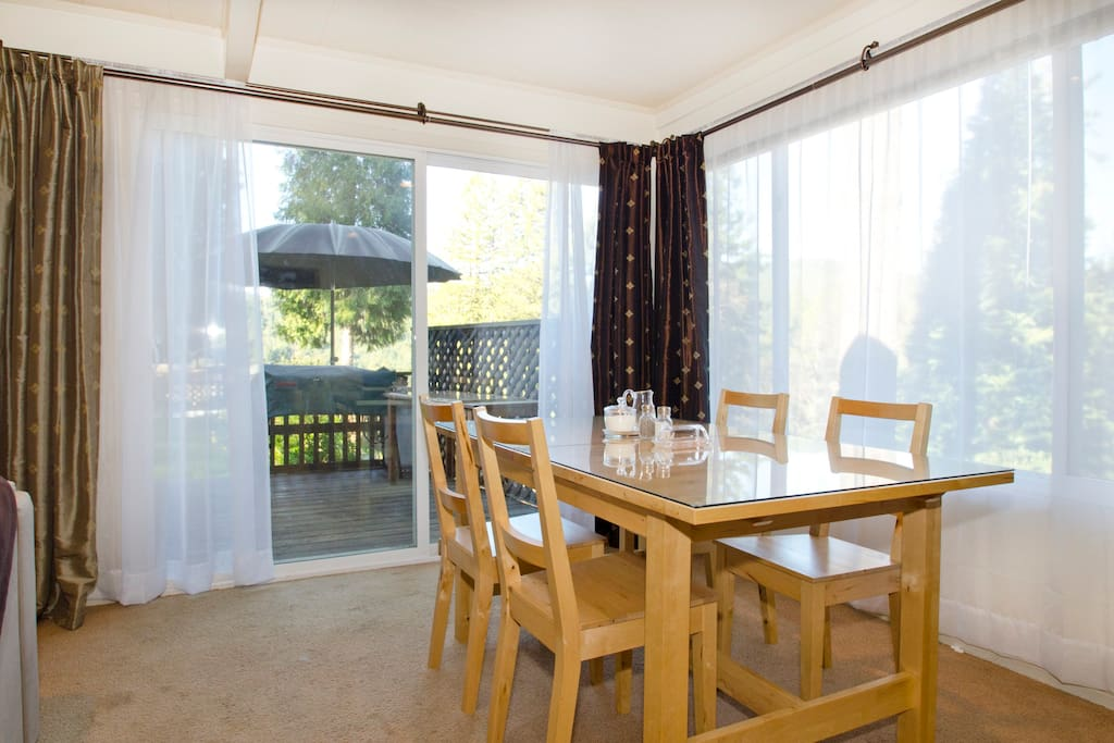 The dining table expands to seat six comfortably.  The views are spectacular!