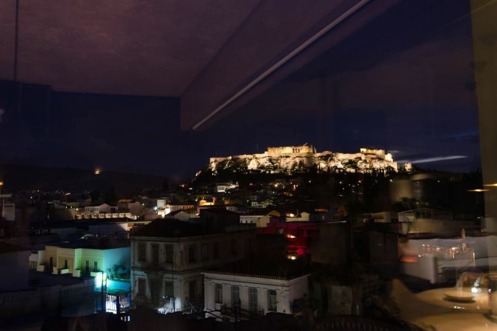Acropolis by night. View from dinning room.