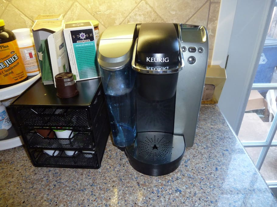 Use our Keurig coffee maker free during your stay. Bring your own K-cups or choose from our large selection! Water is filtered and tasty as well.