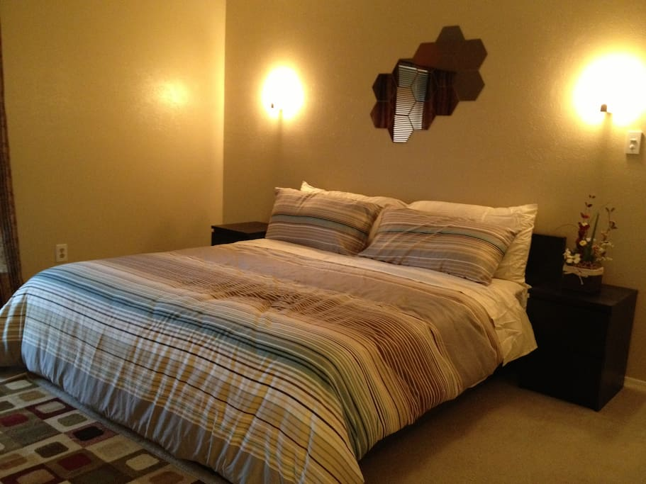 King size bed with dim-able lights!