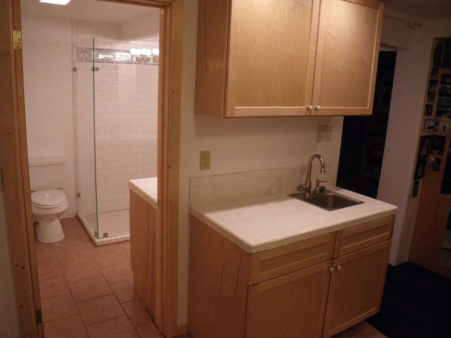 Private bathroom and kitchenette.