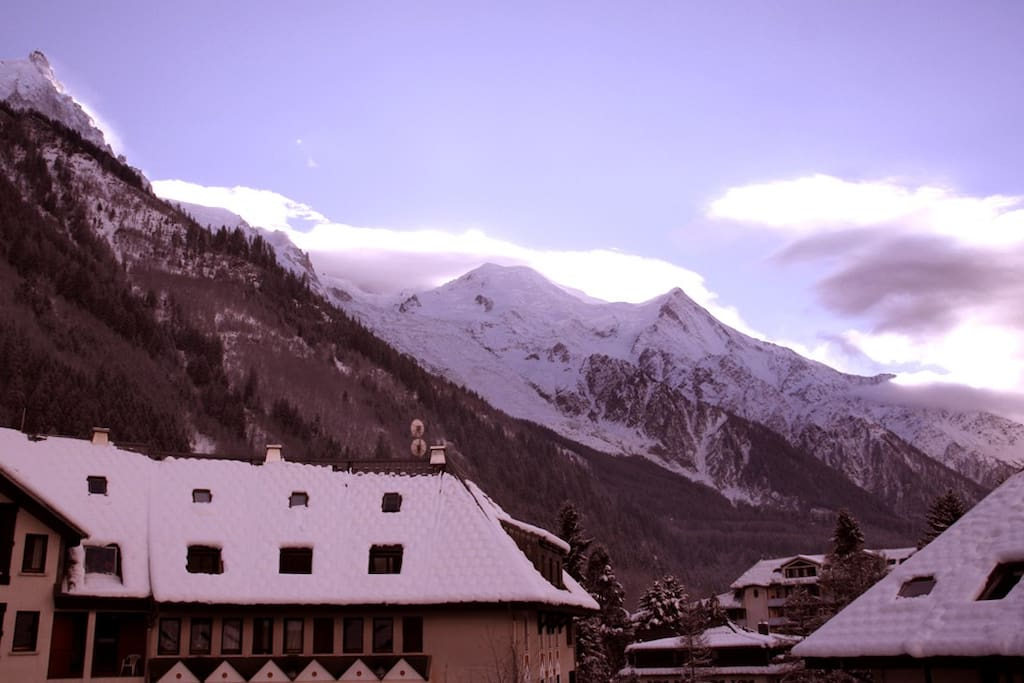 winter sun rising over Mont Blanc, view from the south facing balcony