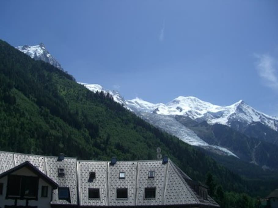All day summer sun on the terrace facing Mt Blanc
