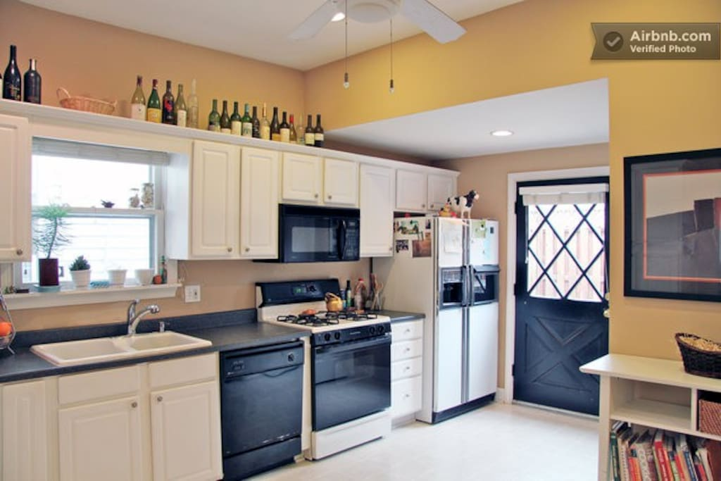 Kitchen is equipped with great pots and pans, dishes of course, coffee, tea and other helpful essentials.