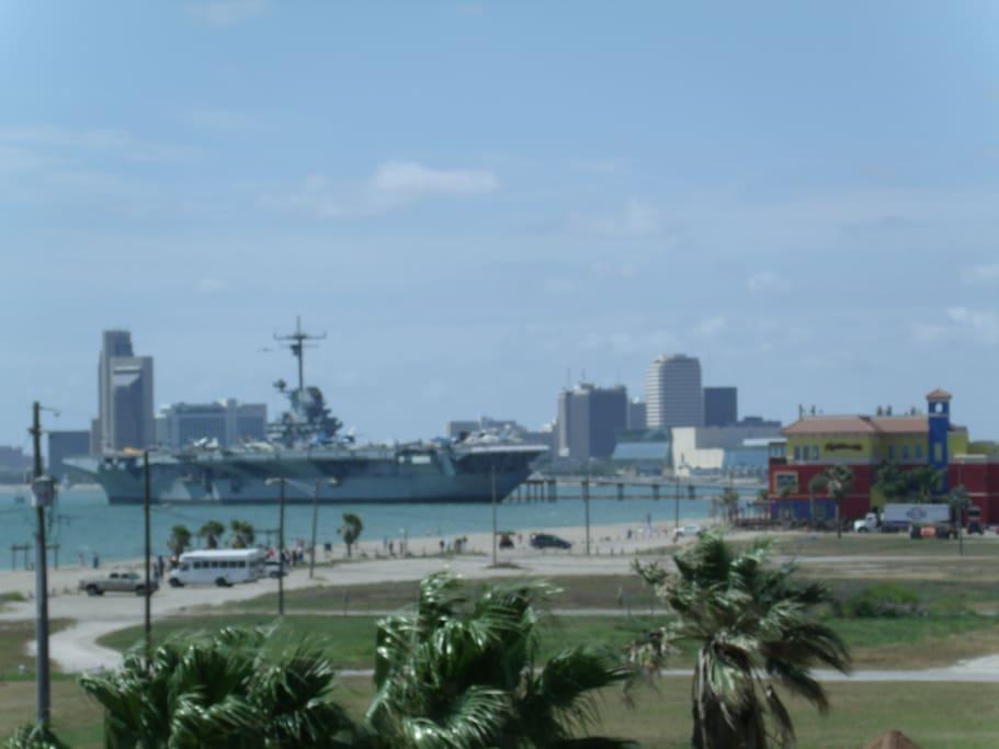 USS Lexington and Downtown Corpus Christi