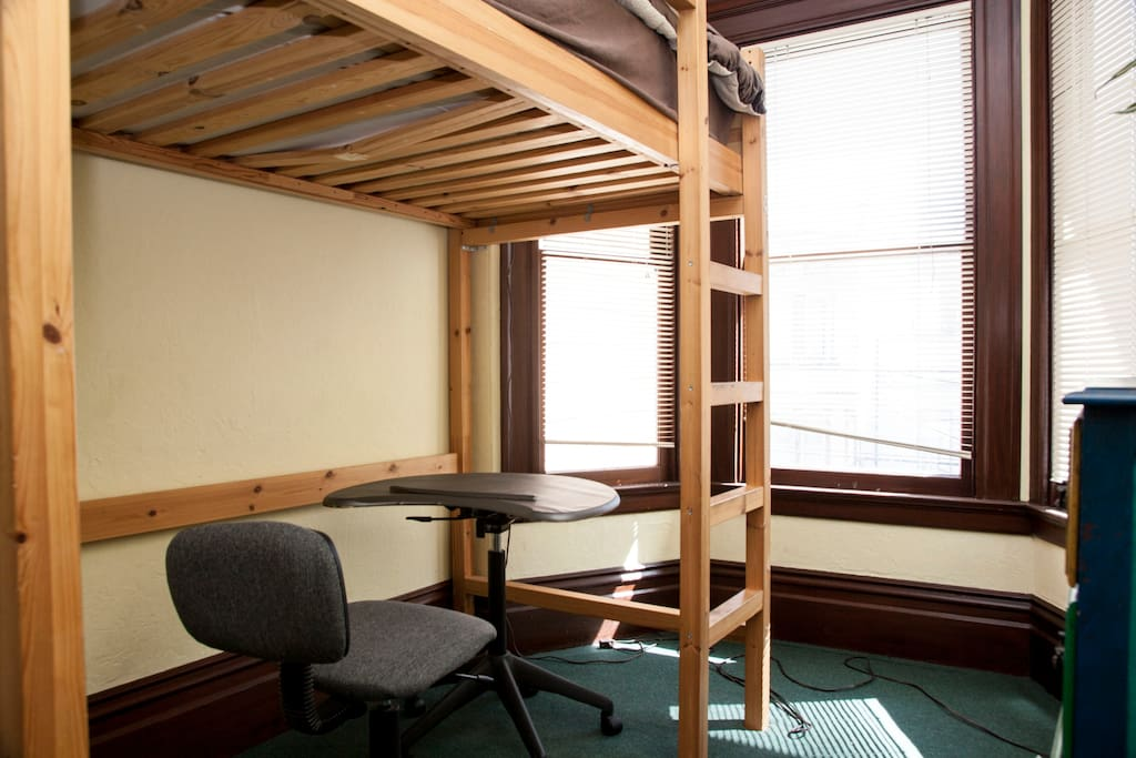 picture of your room with the mattress on the loft bed for extra space