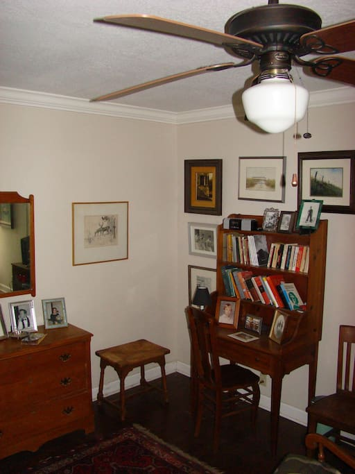 Writing desk in guest bedroom  -- nice ceiling fan
