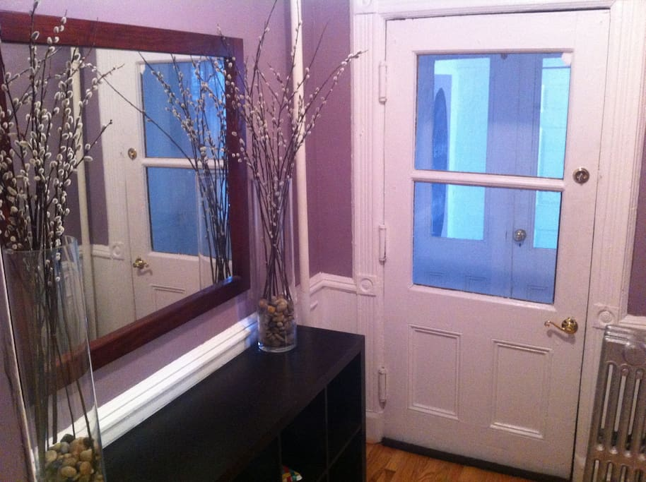 Entry Way with storage and mirror for a quick look before you head out.