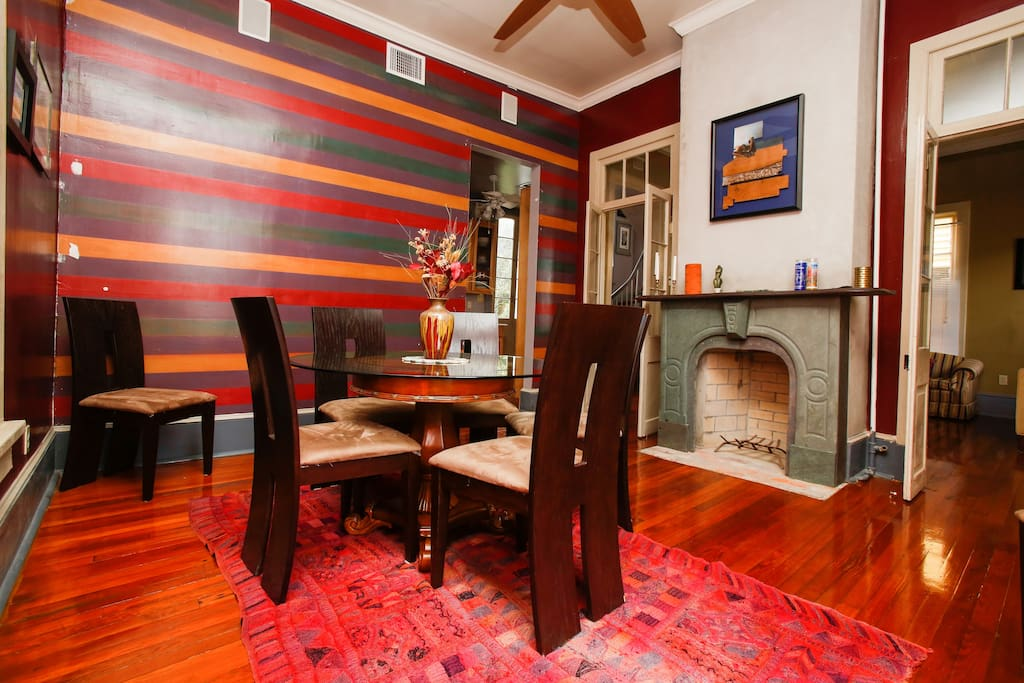 The dining room is fun and vibrant.