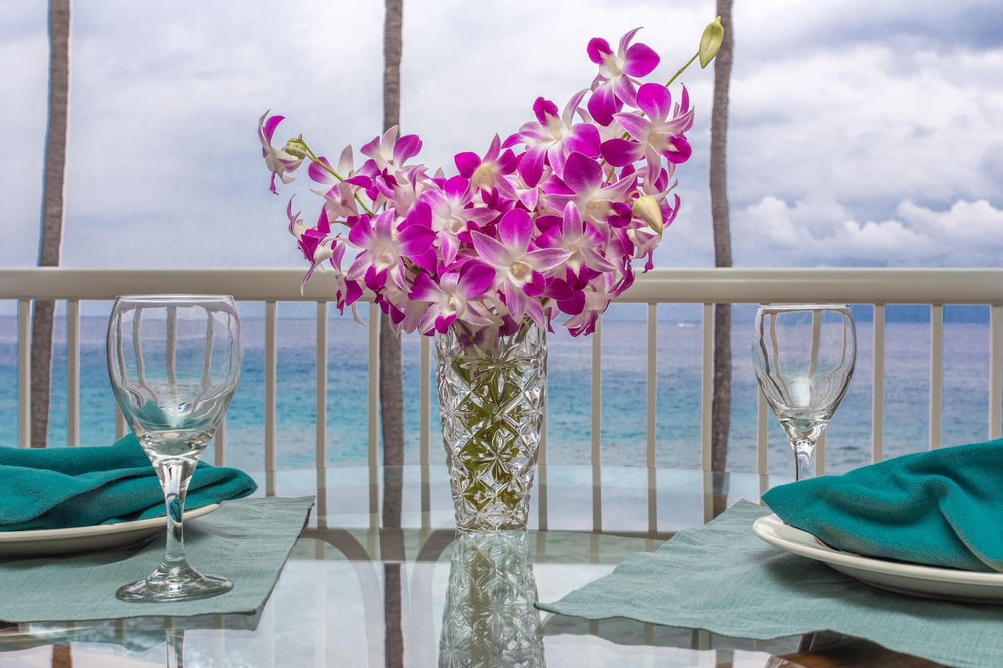 Dine on a glass top table right over the beautiful aqua ocean.