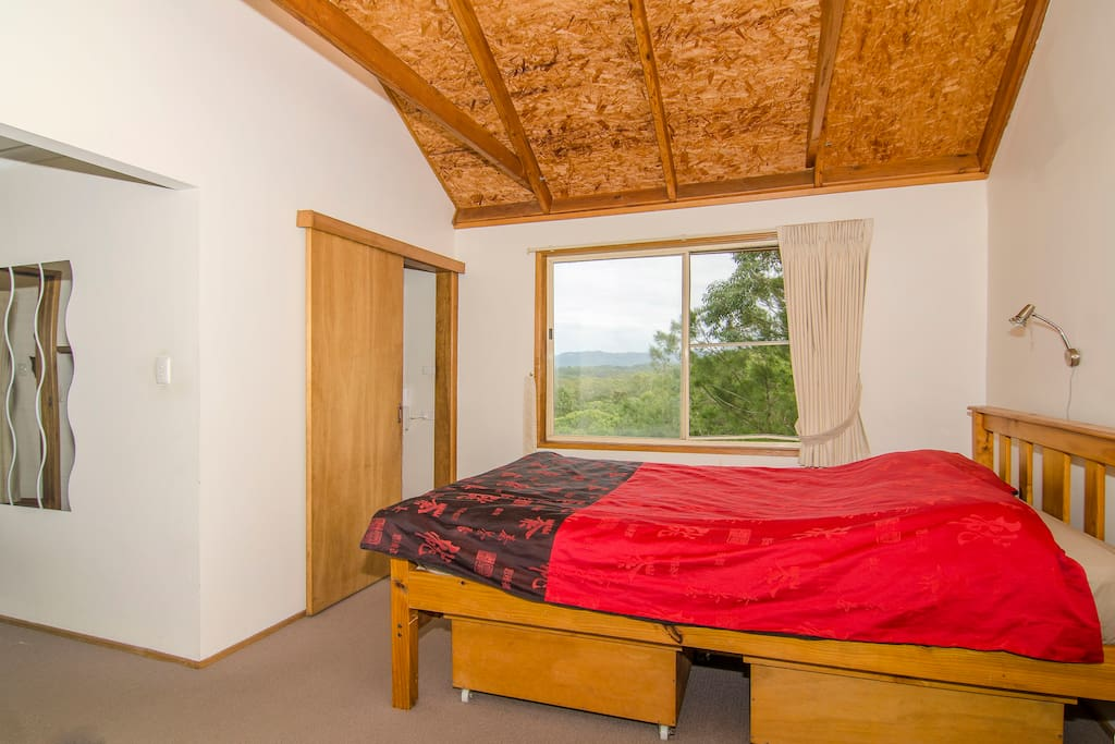 upstairs bedroom with king size bed and heated blanket