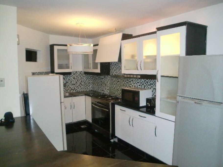 Kitchen, Refrigerator, Mocrowave, Toaster, Cooking Range, Dinner Set, Cooking Pots, Cutlery