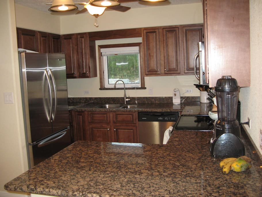 Fully equipped kitchen complete even with smoothie machine.