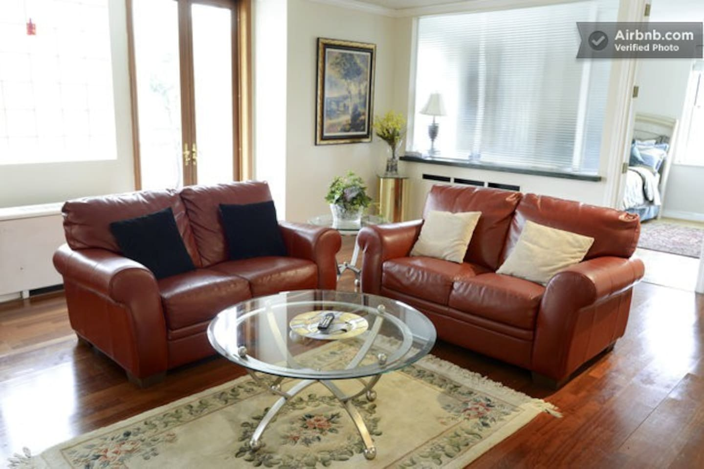 Living room, just redesigned, french doors open to the patio that over looks Baker & Peachtree St