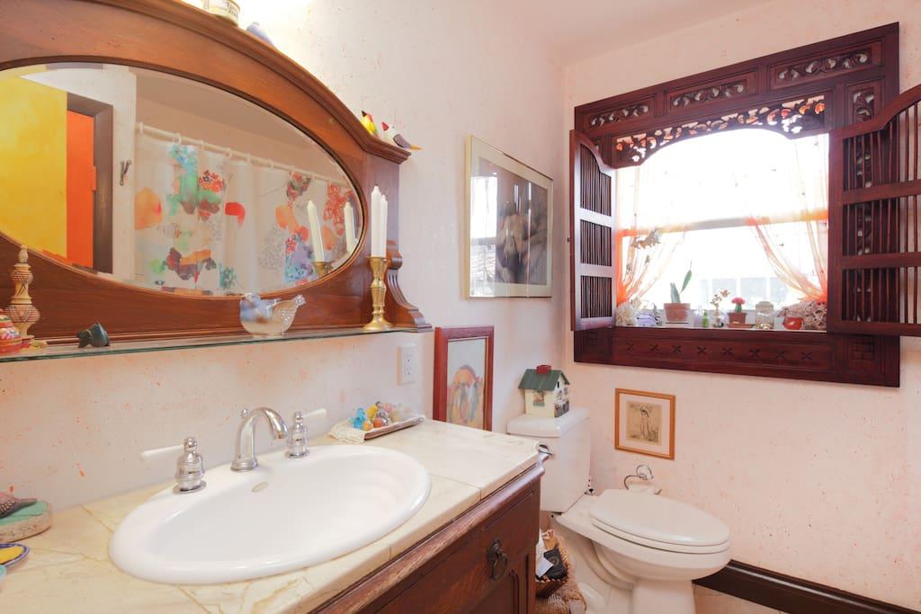 guest bathroom with bird motif