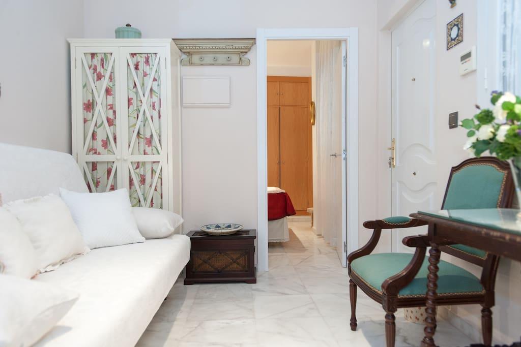Sala de estar y dormitorio al fondo