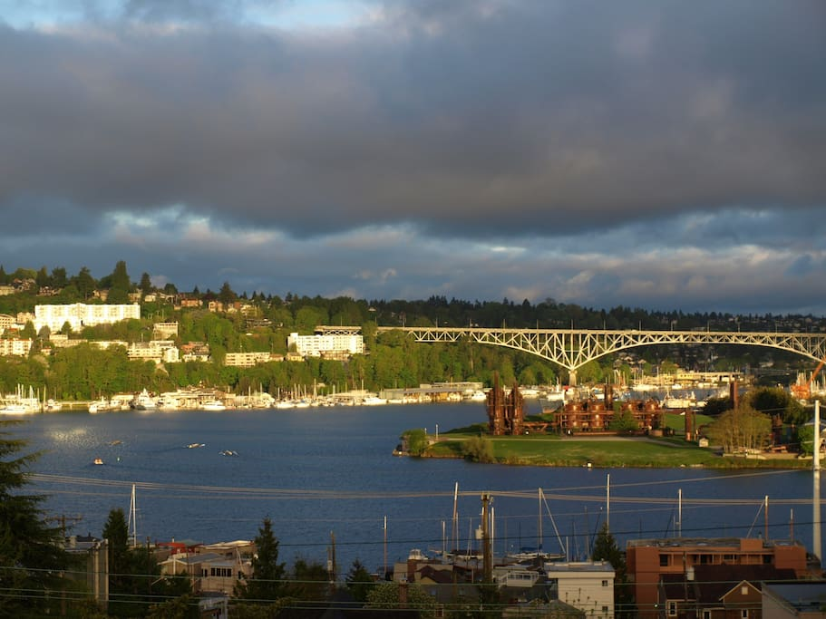 Lake Union View from our window. Gas Works Park, Olympic Mountains, sail boats and sea planes.