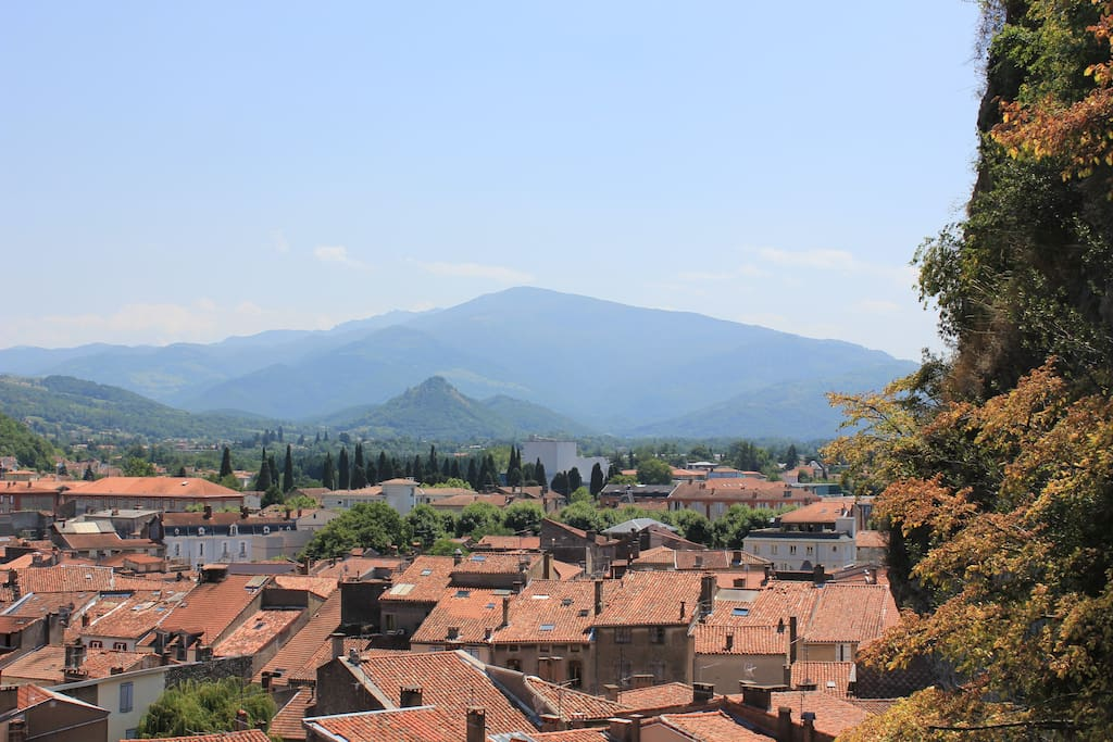 View of the Pyrenean foothills from Foix Castle.