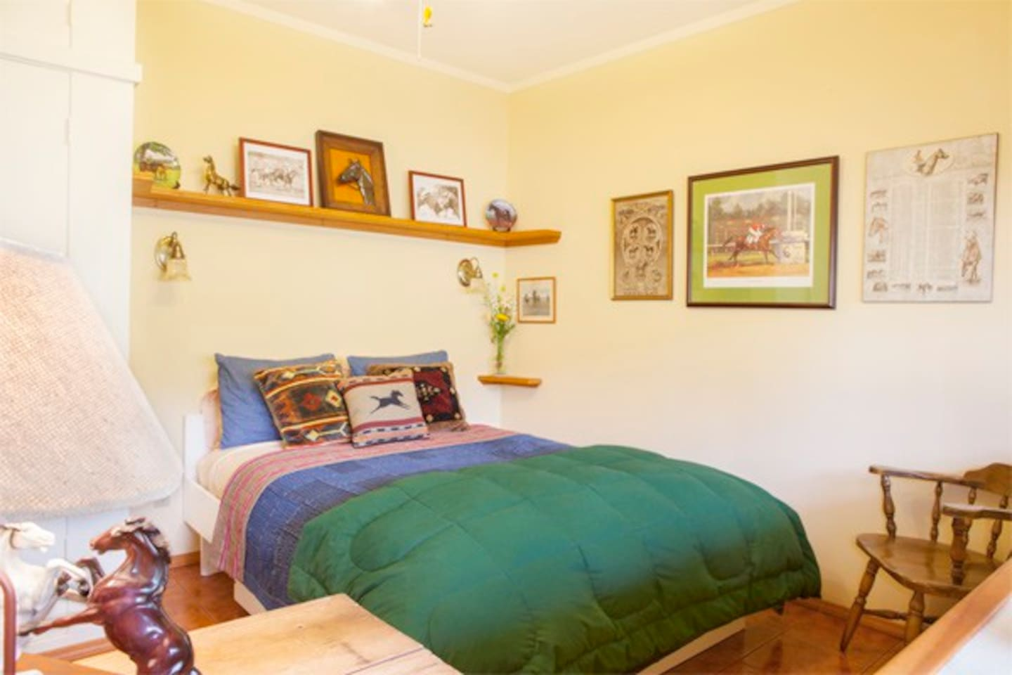 Seabiscuit bedroom with photos and racehorse memorabilia