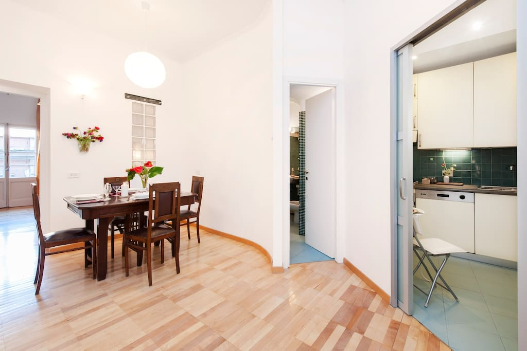 dining room, bathroom and kitchen