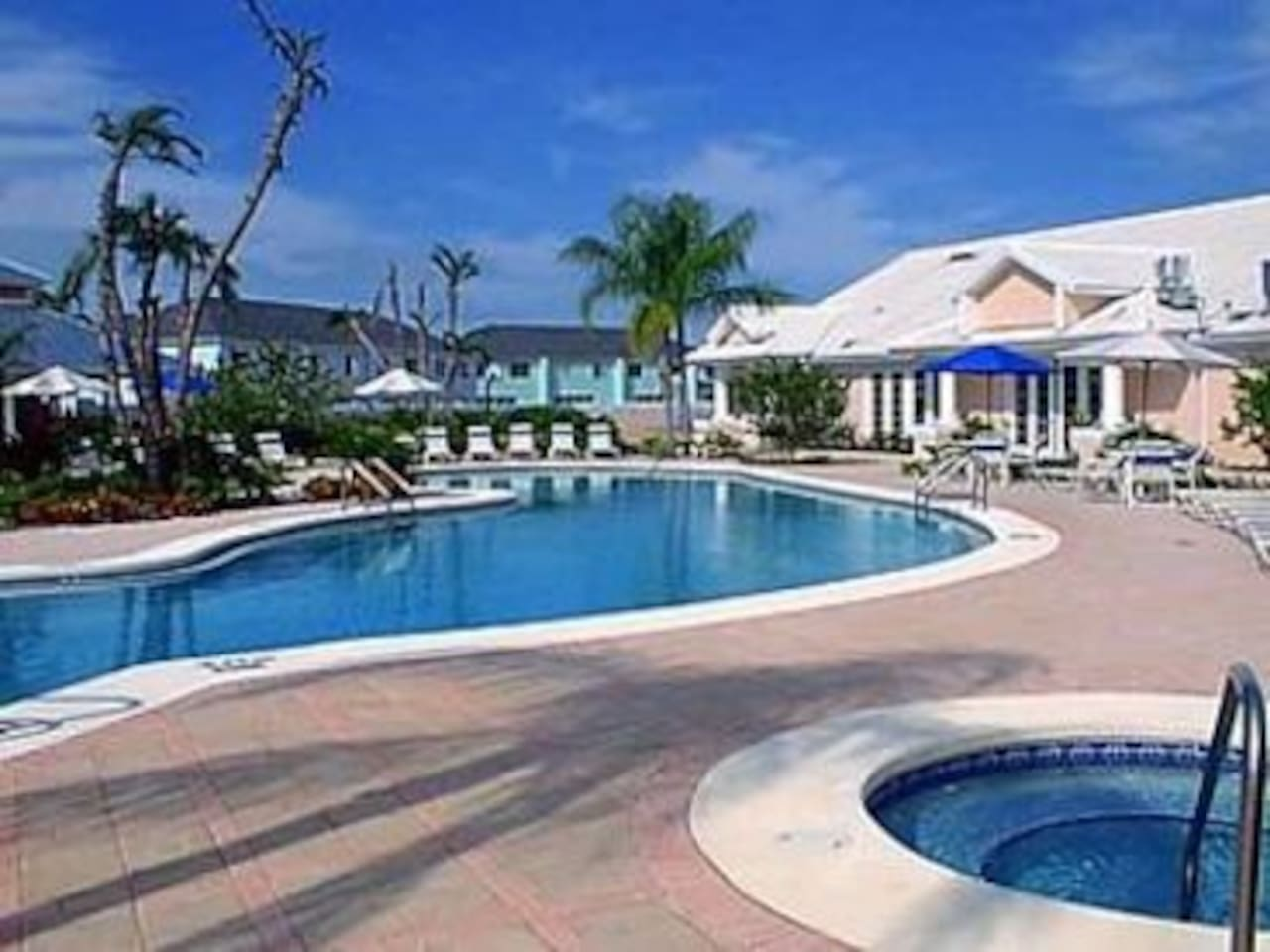 our beautiful pool area has a large kidney shaped uncrowded pool, hot tub, and a kiddy pool!  There is a playground behind this.
