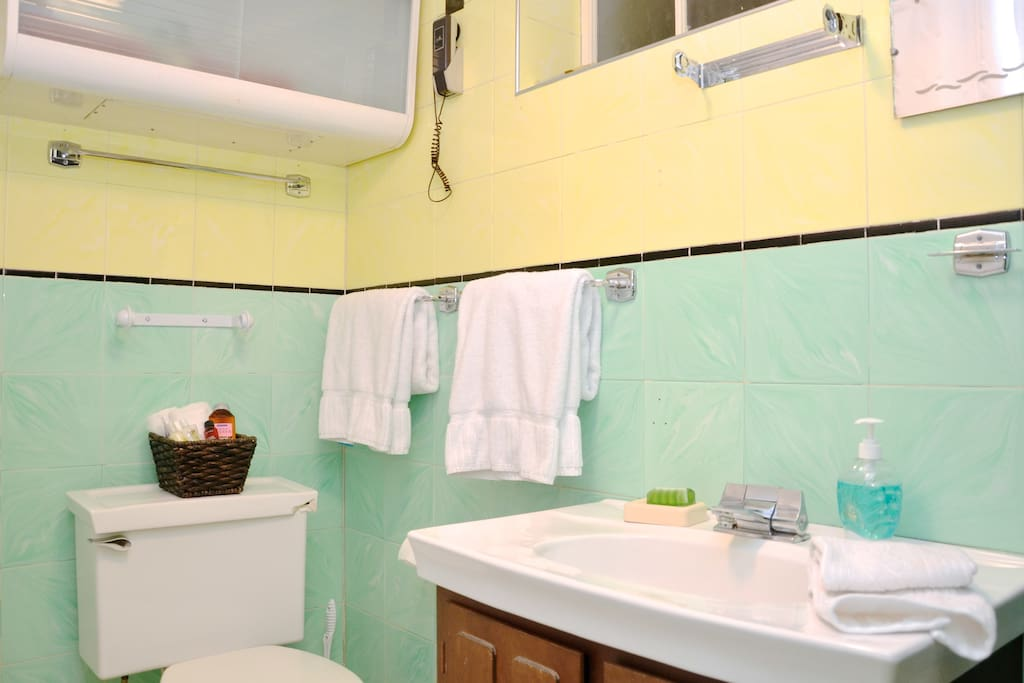Spacious, private bath is also very retro with it's hip color scheme (surprised the toilets not teal? Me too!)