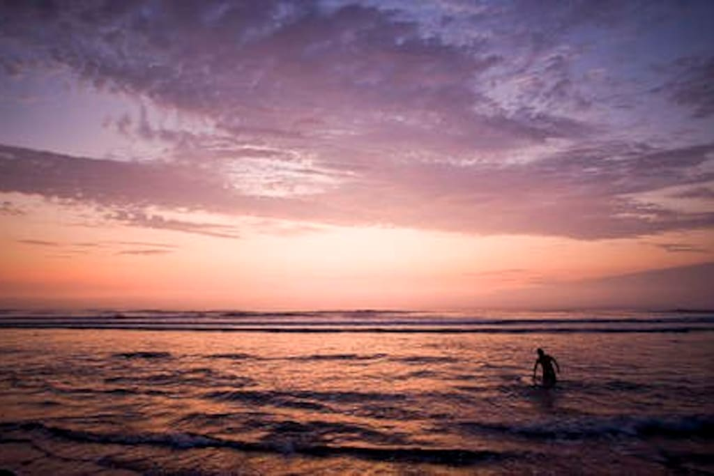 Beautiful sunset over the pacific ocean in Huanchaco
