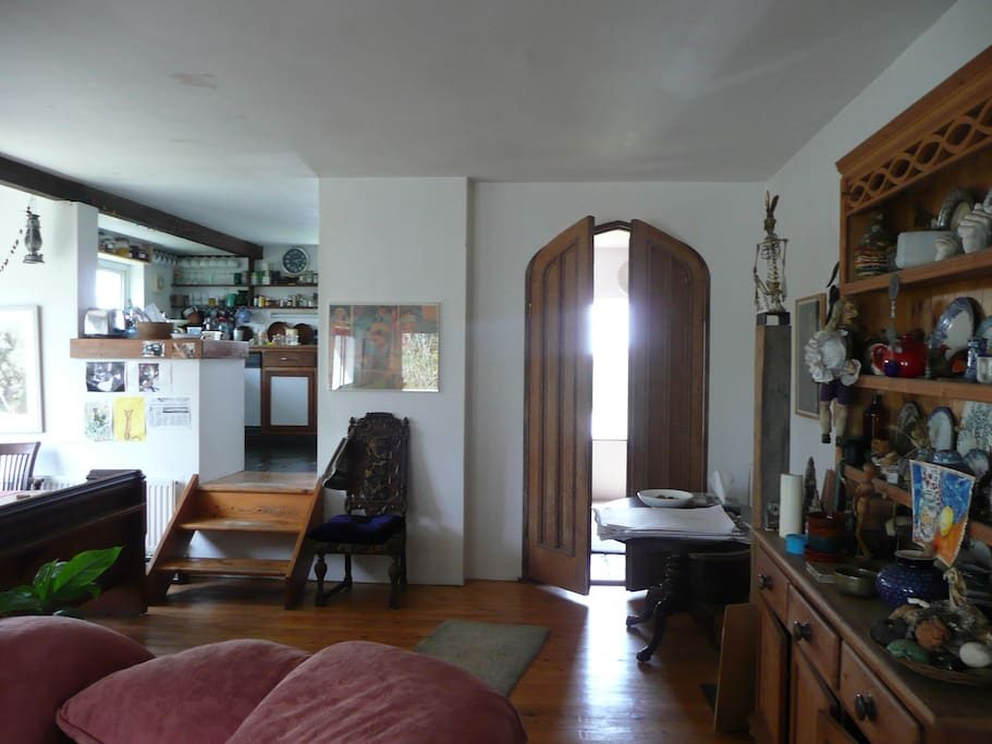 Living, dining room and kitchen.