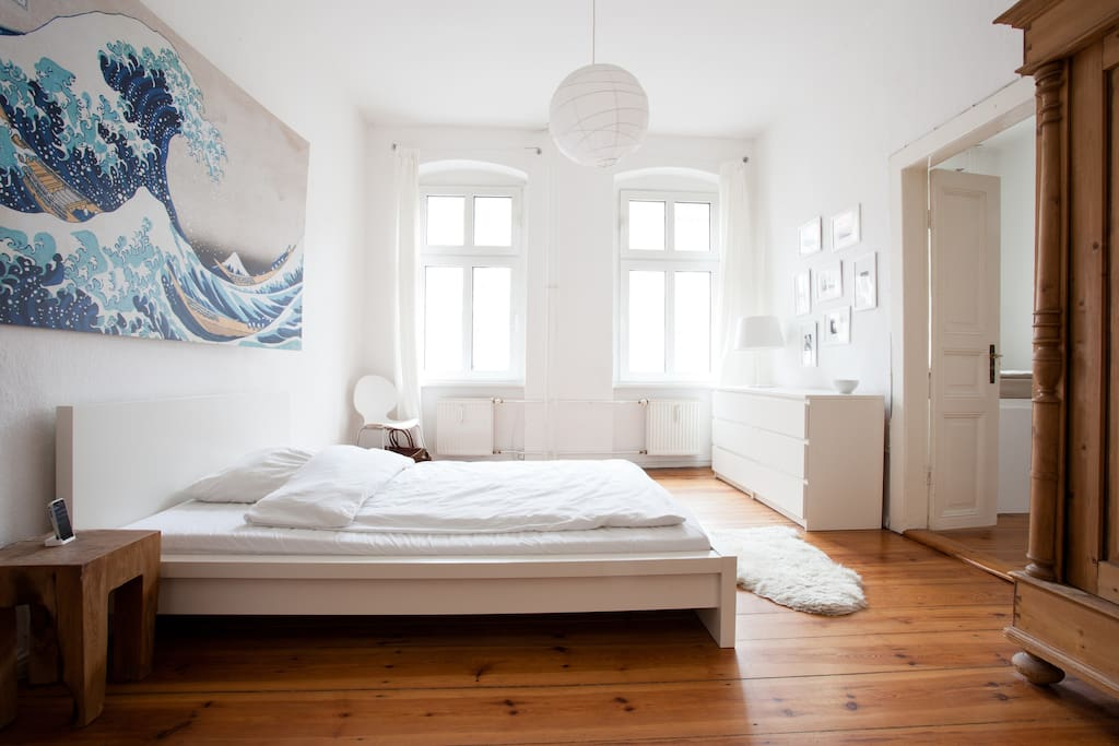 Big bedroom (size of mattress is 140x200 cm). There is a second mattress of same size underneath the bed, which can be pulled out if needed.