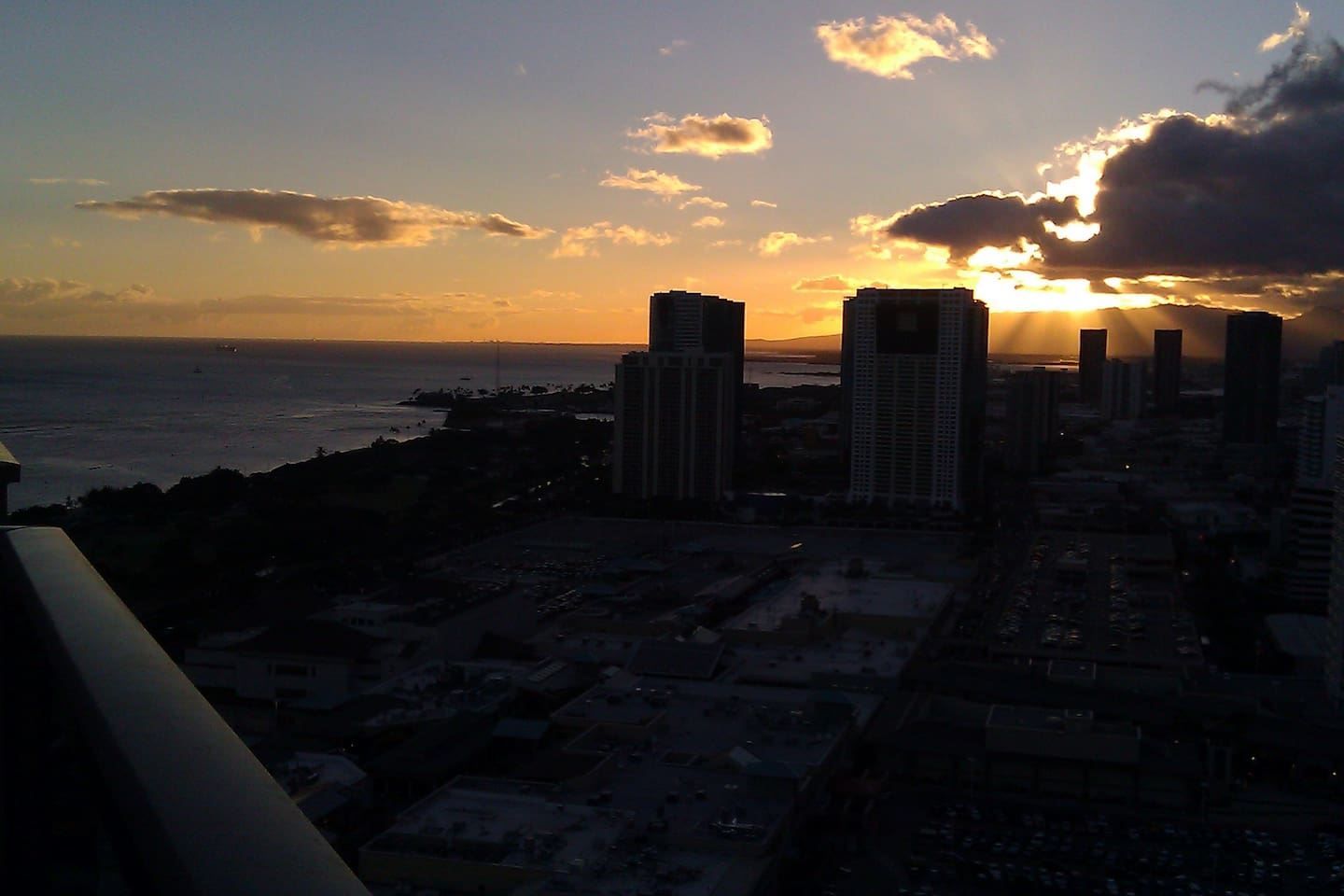 A gorgeous Sunset with partial Ocean views from our 35th floor lanai!!!