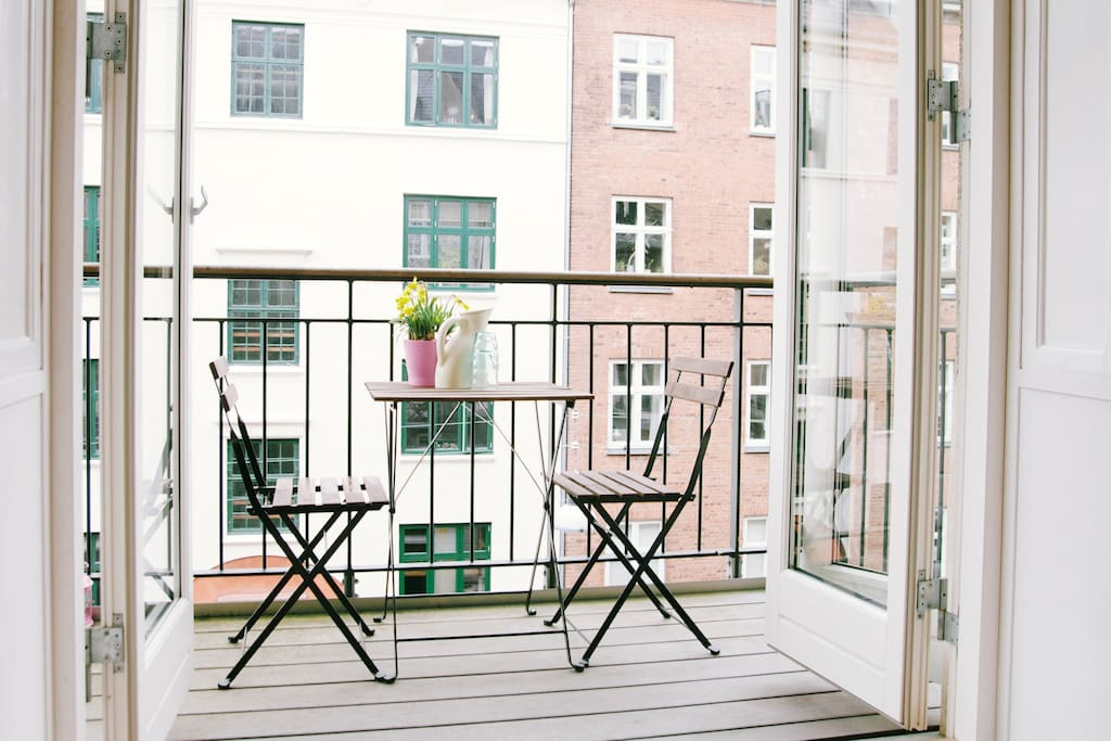 The balcony is the perfect spot to enjoy your stay in Copenhagen.