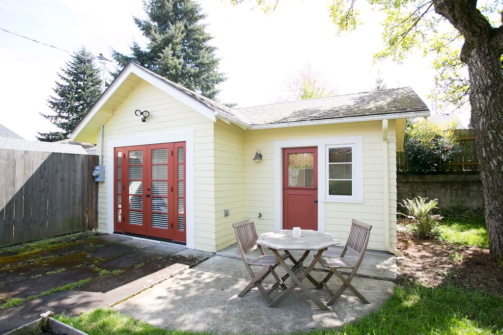 What was once a single car garage is now a cozy little guest house!