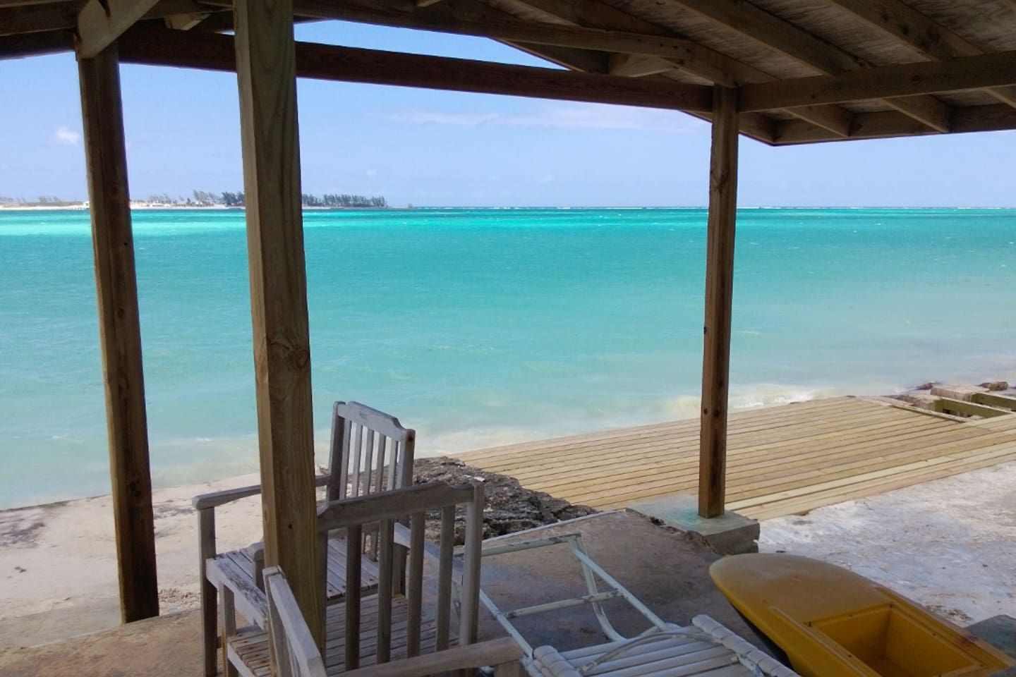 Sit on the deck and marvel at the turquoise waters