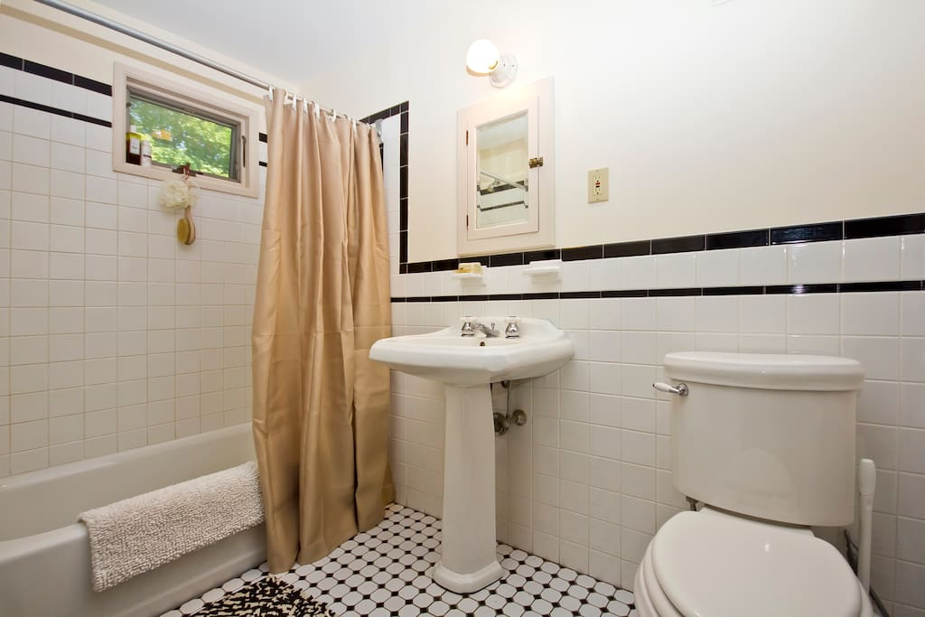 Semi -private bath...you are welcome to spread out your toilet articles....I sneak a quick shower when you aren't home.