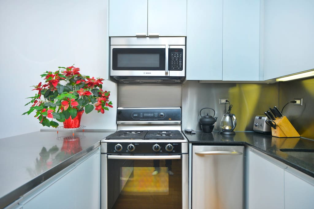 Kitchen with Bosch stainless steel gas stove/oven, microwave and dishwasher