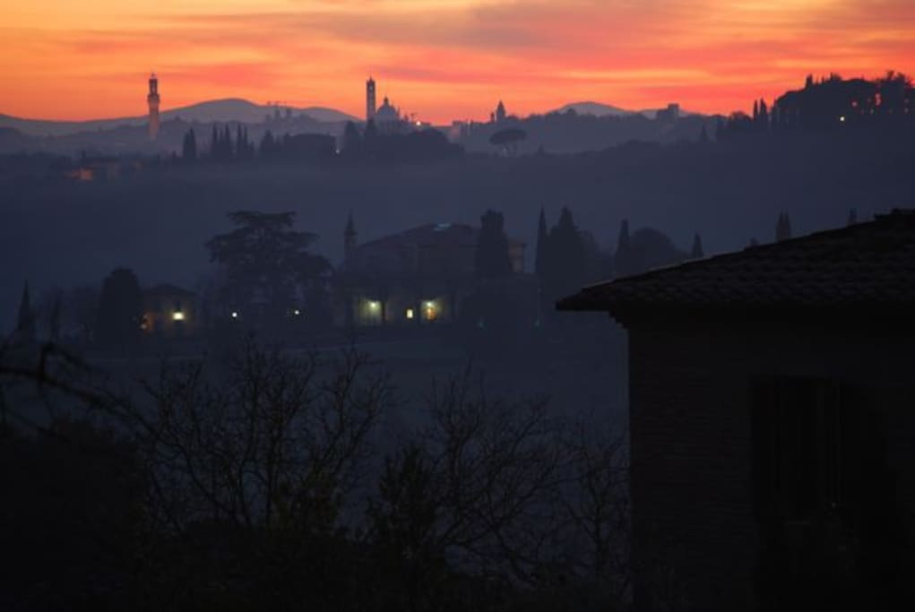 The view of Siena by night from the Living room (this picture as been taken by a guest)