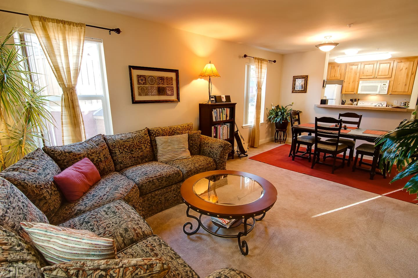 The main living room has a comfortable couch and plenty of room to spread out.