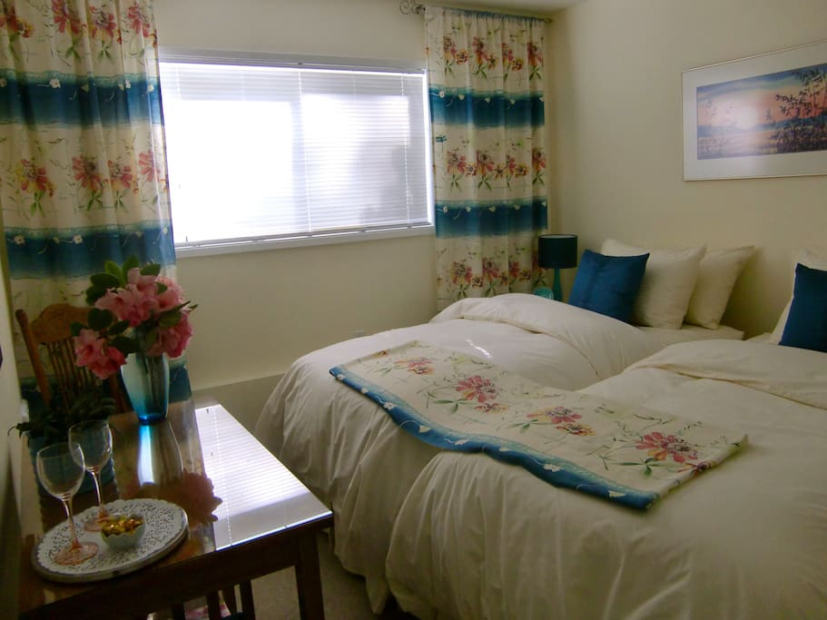 The Moon Reeds Room, our cozy & cheerful single/twin guest room