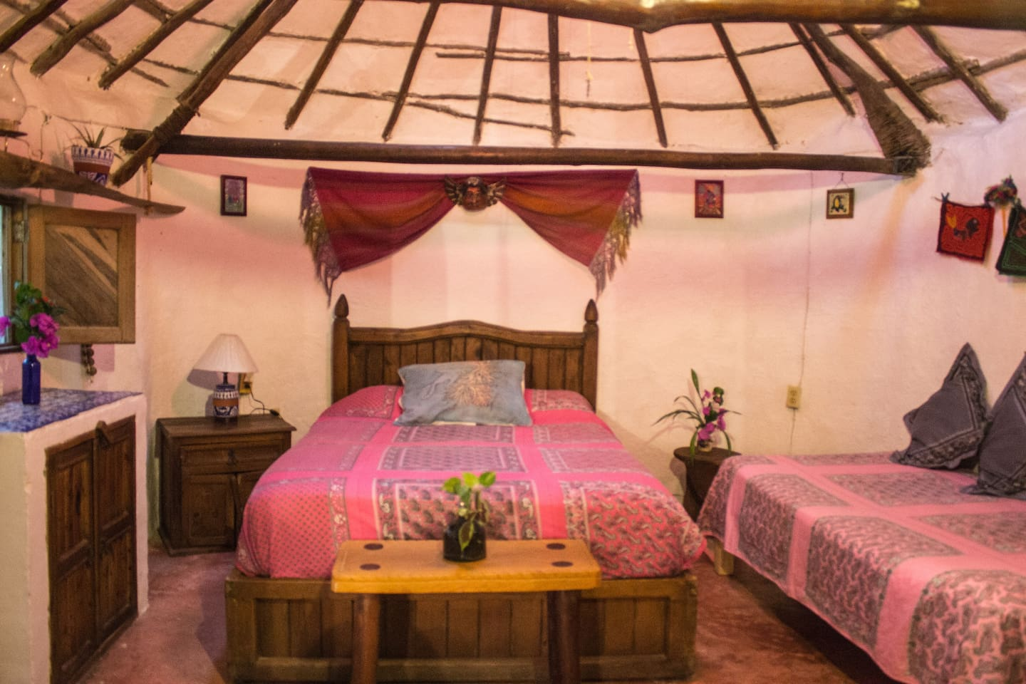 Casitas Kinsol Guesthouse in Puerto Morelos - near Cancun - Room #1 - One full-size bed and one single-size bed -