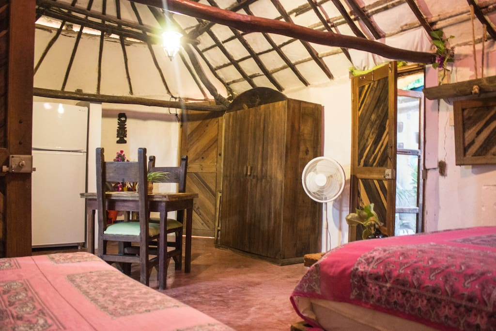 Casitas Kinsol Guesthouse in Puerto Morelos - near Cancun - Room #1 - A large room with a large fridge (14 cubic feet) -